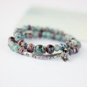 Jewelry - 🆕️ Beaded Floral Charm Wrap Bracelet